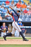 Rome Braves left fielder Justin Ellison (5) swings at a pitch during a game against the Asheville Tourists at McCormick Field on June 25, 2017 in Asheville, North Carolina. The Braves defeated the Tourists 7-2. (Tony Farlow/Four Seam Images)