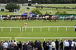 September 05, 2009: Horses pass the finishing post in the opening fillies maiden race.The Tattersalls Millions Irish Champion Stakes. Leopardstown Racecourse, Dublin, Ireland.