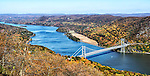 A panoramic view of the Hudson River and the Bear Mountain Bridge in autumn, as viewed from the top of Bear Mountain