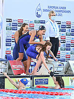ITA ITALY<br /> LAMBERTI Noemi<br /> ZAMBELLI Giulia<br /> SANTULIANA Nicole<br /> VETRANO Giulia<br /> WOMEN - 4 X 200 M FREESTYLE - FINAL<br /> swimming, nuoto<br /> LEN European Junior Swimming Championships 2021<br /> Rome 20426<br /> Stadio Del Nuoto Foro Italico <br /> Photo Andrea Masini / Deepbluemedia / Insidefoto