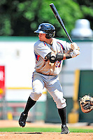 15 July 2010: Aberdeen IronBirds' outfielder Jeremy Nowak in action against the Vermont Lake Monsters at Centennial Field in Burlington, Vermont. The Lake Monsters rallied in the bottom of the 9th inning to defeat the IronBirds 7-6 notching their league leading 20th win of the 2010 NY Penn League season. Mandatory Credit: Ed Wolfstein Photo