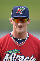 Fort Myers Miracle designated hitter Marcus Knecht (9) before a game against the Tampa Yankees on April 15, 2015 at Hammond Stadium in Fort Myers, Florida.  Tampa defeated Fort Myers 3-1 in eleven innings.  (Mike Janes/Four Seam Images)