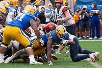 Pitt running back Darrin Hall (22) scores on a 3-yard touchdown run in overtime. The Pitt Panthers defeated the Syracuse Orange 44-37 in overtime at Heinz Field in Pittsburgh, Pennsylvania on October 6, 2018.