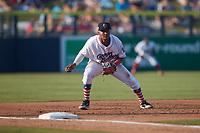 Kannapolis Cannon Ballers third baseman Samil Polanco (13) on defense against the Charleston RiverDogs at Atrium Health Ballpark on July 4, 2021 in Kannapolis, North Carolina. (Brian Westerholt/Four Seam Images)