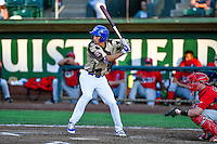 Mitchell Hansen (43) of the Ogden Raptors at bat against the Orem Owlz in Pioneer League action at Lindquist Field on July 29, 2016 in Ogden, Utah. Orem defeated Ogden 8-5. (Stephen Smith/Four Seam Images)