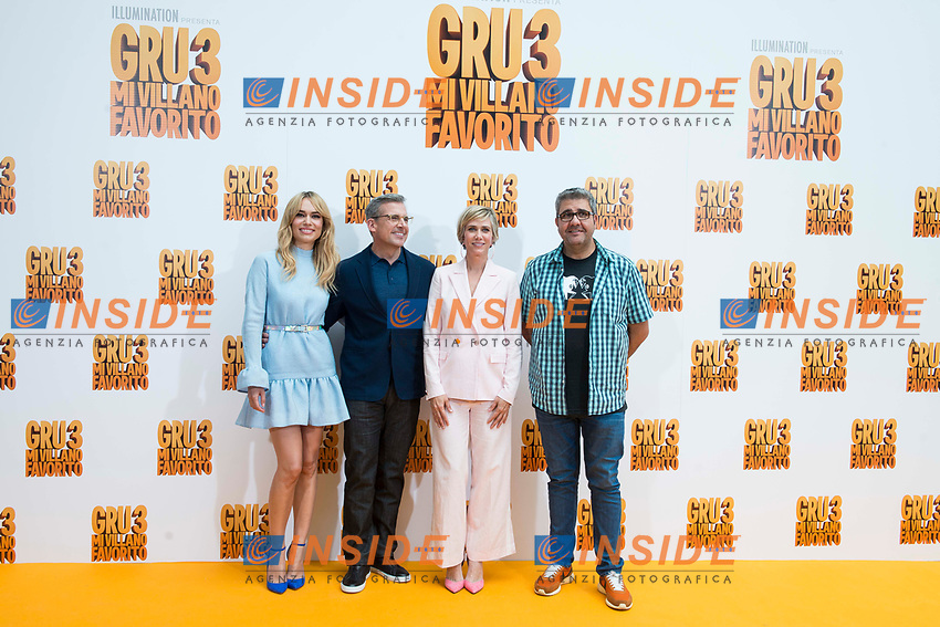 Spanish actress Patricia Conde, american actor Steve Carrell, american actressKristen Wiig and spanish actor Florentino Fernandez attends to the presentation of film 'Gru, Mi Villano Favorito 3' (Despicable Me 3 ) in Madrid, June 20, 2017. Spain.<br /> (ALTERPHOTOS/BorjaB.Hojas)<br /> <br /> Cattivissimo 3 Photo Call Madrid <br /> Foto ALTERPHOTOS/BorjaB.Hojas/Insidefoto