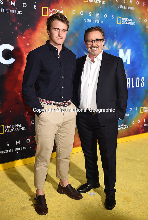 """LOS ANGELES - FEBRUARY 26: (L-R) Miles Clark and Jason Clark attend National Geographic's 2020 Los Angeles premiere of """"Cosmos: Possible Worlds"""" at Royce Hall on February 26, 2020 in Los Angeles, California. Cosmos: Possible Worlds premieres Monday, March 9 at 8/7c on National Geographic. (Photo by Frank Micelotta/National Geographic/PictureGroup)"""