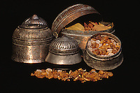 Oman, Middle East.  Frankincense in Omani Pots.