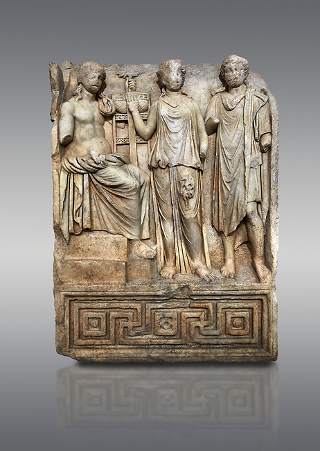 Roman SSebasteion  relief  sculpture of Apollo and Royal Hero Aphrodisias Museum, Aphrodisias, Turkey. <br /> <br /> Apollo sits on a raised platform with his tripod at his oracular shrine. He is approached by two figures. A women greets  the god with a raised hand. With her is a hero wearing a travelling cloak and the flat headband or diadem of a king. He has come to consult Apollo, probably about a city foundation.