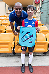 Mark Bright pose for photo with child for the launch of the Premier League Asia Trophy 2017 at the Hong Kong Football Club on 01 June 2017 in Hong Kong, China. Photo by Chris Wong / Power Sport Images
