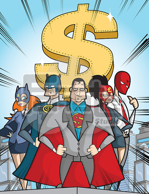 Business super hero with dollar sign