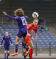 Kassandra Missipo (12 Anderlecht) and Sheila Broos (20 Woluwe) battle for the ball during a female soccer game between FC Femina WS Woluwe and RSC Anderlecht Women on the eight match day of the 2020 - 2021 season of Belgian Women's Super League , Sunday 22nd of November 2020  in Woluwe, Belgium . PHOTO SPORTPIX.BE | SPP | SEVIL OKTEM