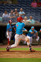Clearwater Beach Dogs Nick Matera (7) bats during a Florida State League game against the Charlotte Stone Crabs on July 26, 2019 at Spectrum Field in Clearwater, Florida.  Clearwater defeated Charlotte 6-5.  (Mike Janes/Four Seam Images)