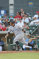 Wilmington Blue Rocks shortstop Christian Colon #12 at bat during a game vs. the Myrtle Beach Pelicans at BB&T Coastal Field in Myrtle Beach,SC on July 19, 2010.   Wilmington defeated Myrtle Beach by the score of 2-0.  Photo By Robert Gurganus/Four Seam Images