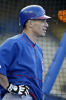 Joe Girardi of the Chicago Cubs during a 2002 MLB season game against the Los Angeles Dodgers at Dodger Stadium, in Los Angeles, California. (Larry Goren/Four Seam Images)