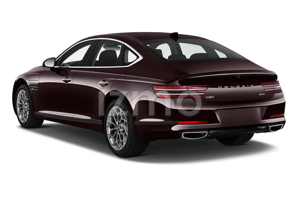 Car pictures of rear three quarter view of 2021 Genesis G80 - 4 Door Sedan Angular Rear