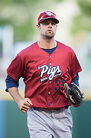 Lehigh Valley IronPigs center fielder Jordan Danks (33) jogs off the field between innings of the game against the Charlotte Knights at BB&T BallPark on May 30, 2015 in Charlotte, North Carolina.  The IronPigs defeated the Knights 1-0.  (Brian Westerholt/Four Seam Images)
