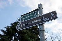 Sign for Lesnes Abbey and footpath in Abbeywood, southeast London, UK