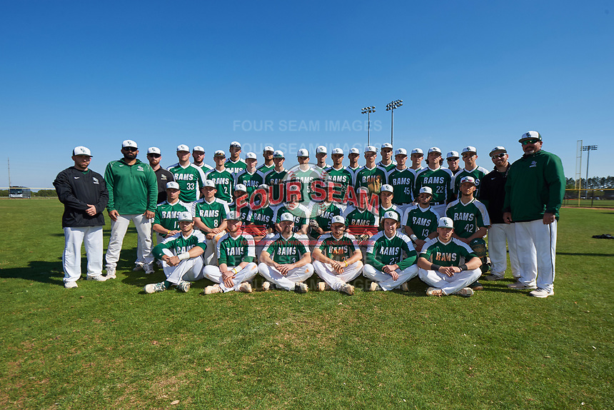 Farmingdale State Rams team photo after the first game of a doubleheader against the FDU-Florham Devils on March 15, 2017 at Lake Myrtle Park in Auburndale, Florida.  Farmingdale defeated FDU-Florham 6-3.  (Mike Janes/Four Seam Images)