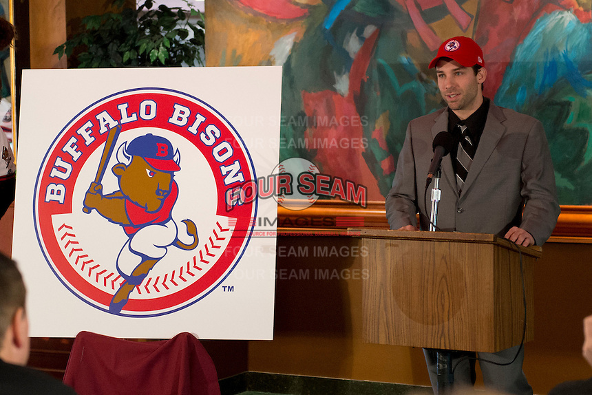 Jim Negrych addresses the media during the Buffalo Bisons press conference introducing the teams new logo and manager for their affiliation with the Toronto Blue Jays at Coco-Cola Field on November 20, 2012 in Buffalo, New York.  (Mike Janes/Four Seam Images)