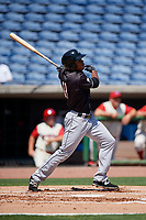 Jupiter Hammerheads right fielder Stone Garrett (11) follows through on a swing during a game against the Clearwater Threshers on April 11, 2018 at Spectrum Field in Clearwater, Florida.  Jupiter defeated Clearwater 6-4.  (Mike Janes/Four Seam Images)