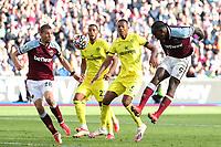 3rd October 2021;   City of London Stadium, London, England; EPL Premier League football, West Ham versus Brentford; Michail Antonio of West Ham United misses a header on goal