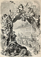 Old allegoric illustration of Mardi Gras (Fat Tuesday) during Carnival celebrations in Paris. Original, by Belin, Le Chevalier and Paulin, published on L'Illustration, Journal Universel, Paris, 1860