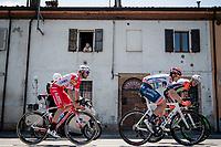 today's breakaway group passing trough town: Damiano Cima (ITA/Nippo-Vini Fantini), Marco Frapport (ITA/Androni Giocattoli) & Mirco Maestri (ITA/Bardiani - CSF)<br /> <br /> Stage 11: Carpi to Novi Ligure (221km)<br /> 102nd Giro d'Italia 2019<br /> <br /> ©kramon