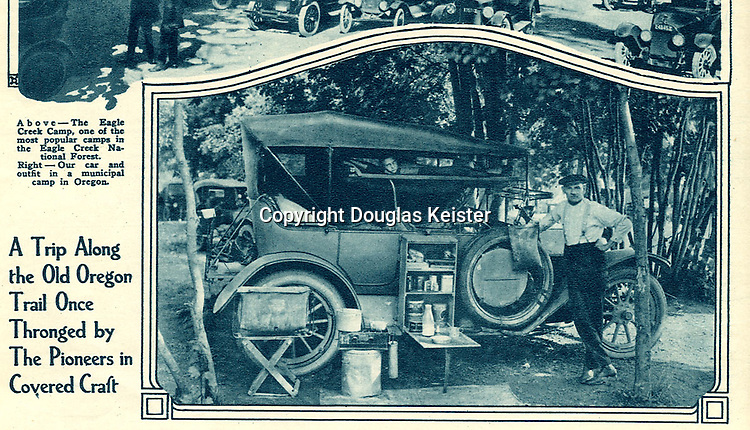 An article in the September 1924 issue of Motor Camper and Tourist magazine is devoted to an autocamping expedition along the Pacific Northwest's portion of the old Oregon Trail. Most automobiles that were adapted for camping made ample use of the vehicle's running boards to secure tents and food storage boxes and iceboxes. Note the bottle of milk that was, no doubt, secured locally and the child's bed suspended above the front seat. Courtesy Vince Martinico collection.