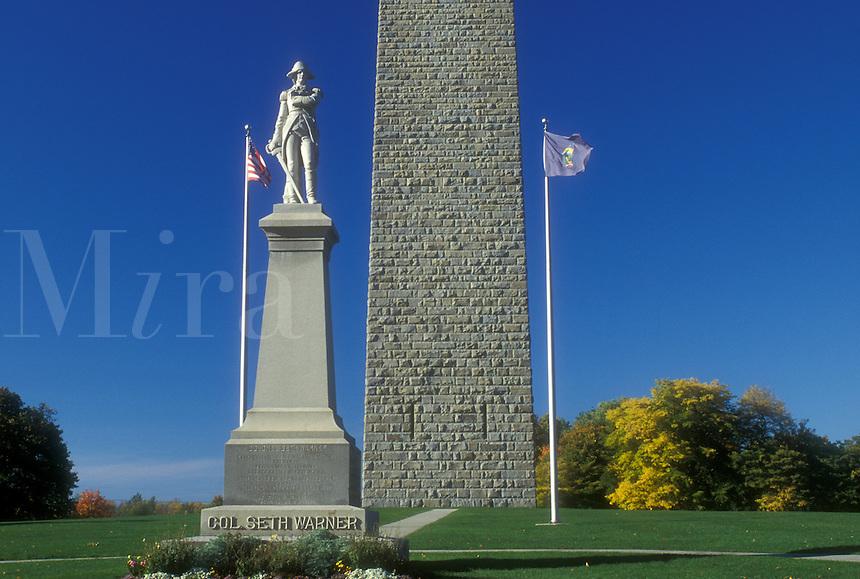 obelisk, fall, Bennington, VT, Vermont, Bennington Battle Monument a 306 foot structure and statue of Colonel Seth Warner in autumn in Bennington.