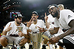 Real Madrid's Facundo Campazo, Gustavo Ayon, Jonas Maciulis and K.C.Rivers celebrate the victory in the Euroleague Final Match. May 15,2015. (ALTERPHOTOS/Acero)