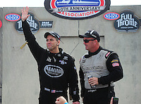Aug. 7, 2011; Kent, WA, USA; NHRA top fuel dragster driver Larry Dixon (left) with Bob Vandergriff Jr during the Northwest Nationals at Pacific Raceways. Mandatory Credit: Mark J. Rebilas-