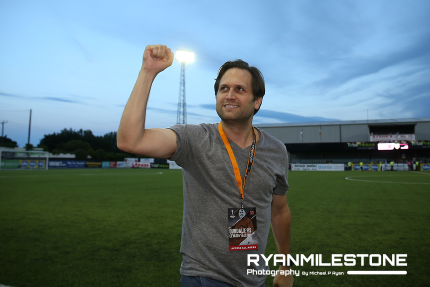 Dundalk Chairman Mike Treacy celebrates at the end of the UEFA Europa League First Qualifying Round Second Leg between Dundalk FC and Levadia Tallinn on Thursday 19th July 2018 at Oriel Park, Dundalk, Co Louth. Photo By Michael P Ryan