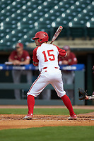 Josh McLain (15) of the North Carolina State Wolfpack at bat against the Boston College Eagles in Game Two of the 2017 ACC Baseball Championship at Louisville Slugger Field on May 23, 2017 in Louisville, Kentucky. The Wolfpack defeated the Eagles 6-1. (Brian Westerholt/Four Seam Images)
