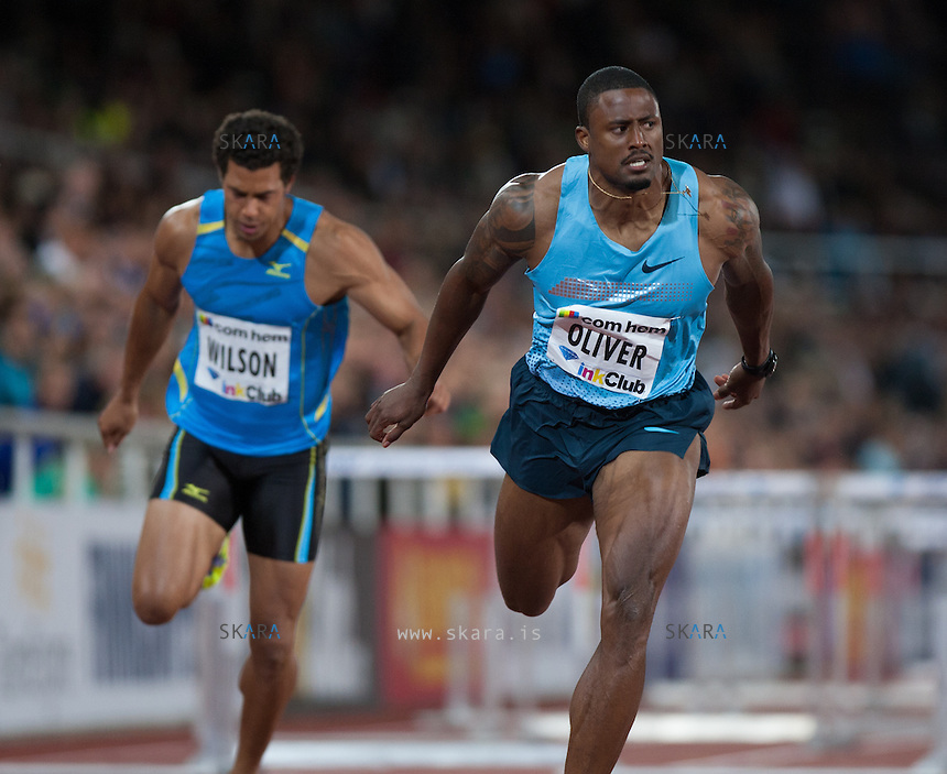 OLIVER David (USA) crossing the finish line at the IAAF Diamond League meeting in Stockholm.