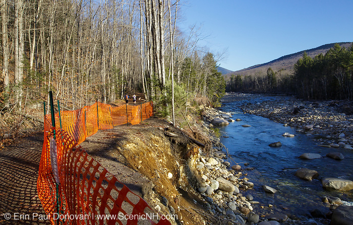 November 2012 - Trail washout along the Lincoln Woods Trail next to the East Branch of the Pemigewasset River in Lincoln, New Hampshire from Tropical Storm Irene in 2011. This tropical storm caused massive destruction along the East Coast of the United States and the White Mountain National Forest of New Hampshire was officially closed during the storm.
