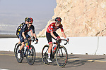 The lead group featuring race leader Red Jersey Tadej Pogacar (SLO) UAE Team Emirates, Adam Yates (GBR) Ineos Grenadiers and Sepp Kuss (USA) Team Jumbo-Visma on the final climb up Jebel Hafeet during Stage 3 of the 2021 UAE Tour running 166km from Al Ain to Jebel Hafeet, Abu Dhabi, UAE. 23rd February 2021.  <br /> Picture: LaPresse/Fabio Ferrari | Cyclefile<br /> <br /> All photos usage must carry mandatory copyright credit (© Cyclefile | LaPresse/Fabio Ferrari)