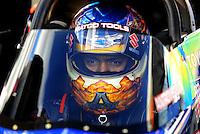 Jan 24, 2009; Chandler, AZ, USA; NHRA top fuel dragster driver Antron Brown during testing at the National Time Trials at Firebird International Raceway. Mandatory Credit: Mark J. Rebilas-