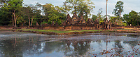 Cambodia, Banteay Srei, Tenth Century A.D.  Temple and Surrounding Moat.