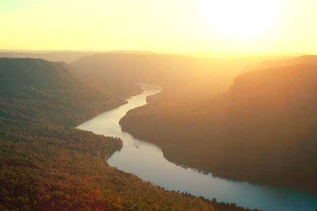 Tennessee River Gorge backlit in evening haze.