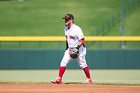 Mesa Solar Sox second baseman Esteban Quiroz (2), of the Boston Red Sox organization, during an Arizona Fall League game against the Peoria Javelinas at Sloan Park on October 11, 2018 in Mesa, Arizona. Mesa defeated Peoria 10-9. (Zachary Lucy/Four Seam Images)
