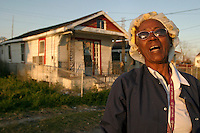New Orleans, LA-- Gloria Gillard outside her heavily damaged home in the 9th Ward. Despite being invited to live in Canadaville, Gloria is slowly rebuilding and vows to stay, one of the few residents intent on returning to the area.Liam Maloney / Special to The Gazette