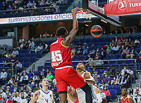 13th October 2021; Wizink Center; Madrid, Spain; Turkish Airlines Euroleague Basketball; game 3; Real Madrid versus AS Monaco;  Donta Hall (AS Monaco) hangs from the net after a dunk