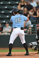 Josh Jung (15) of the Hickory Crawdads at bat during game one of the Northern Division, South Atlantic League Playoffs against the Delmarva Shorebirds at L.P. Frans Stadium on September 4, 2019 in Hickory, North Carolina. The Crawdads defeated the Shorebirds 4-3 to take a 1-0 lead in the series. (Tracy Proffitt/Four Seam Images)