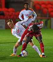 Blackpool's Dan Kemp battles with Accrington Stanley's Stephen Sama<br /> <br /> Photographer Dave Howarth/CameraSport<br /> <br /> EFL Trophy Northern Section Group G - Accrington Stanley v Blackpool - Tuesday 6th October 2020 - Crown Ground - Accrington<br />  <br /> World Copyright © 2020 CameraSport. All rights reserved. 43 Linden Ave. Countesthorpe. Leicester. England. LE8 5PG - Tel: +44 (0) 116 277 4147 - admin@camerasport.com - www.camerasport.com