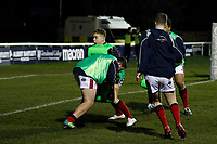 London Scottish warming up during the Greene King IPA Championship match between London Scottish Football Club and Nottingham Rugby at Richmond Athletic Ground, Richmond, United Kingdom on 7 February 2020. Photo by Carlton Myrie.