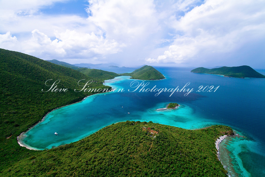 Aerial View of Leinster Bay, Waterlemon Cay and Mary Creek in the Virgin Islands National Park.<br />
