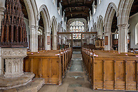 UK, England, Ewelme.  St. Mary the Virgin Church, 15th Century.  Baptismal Font and Carved Wooden Cover on left.