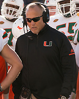 Miami head coach Mark Richt. The Pitt Panthers upset the undefeated Miami Hurricanes 24-14 on November 24, 2017 at Heinz Field, Pittsburgh, Pennsylvania.