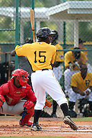Pittsburgh Pirates outfielder Candon Myles #15 during an Instructional League game against the Philadelphia Phillies at Pirate City on October 11, 2011 in Bradenton, Florida.  (Mike Janes/Four Seam Images)